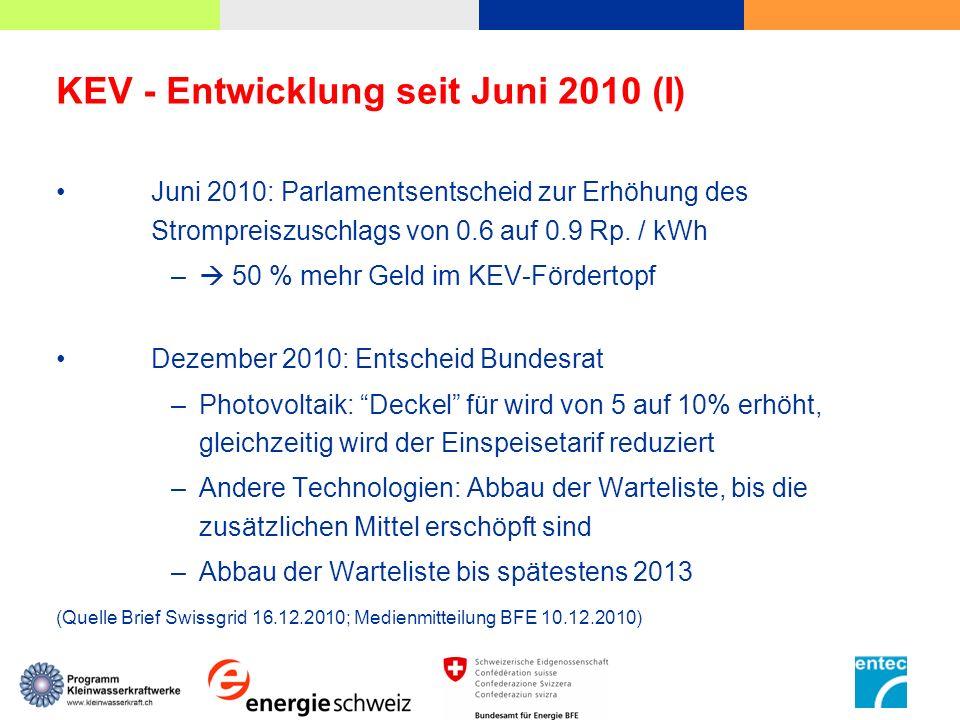 KEV - Entwicklung seit Juni 2010 (I)