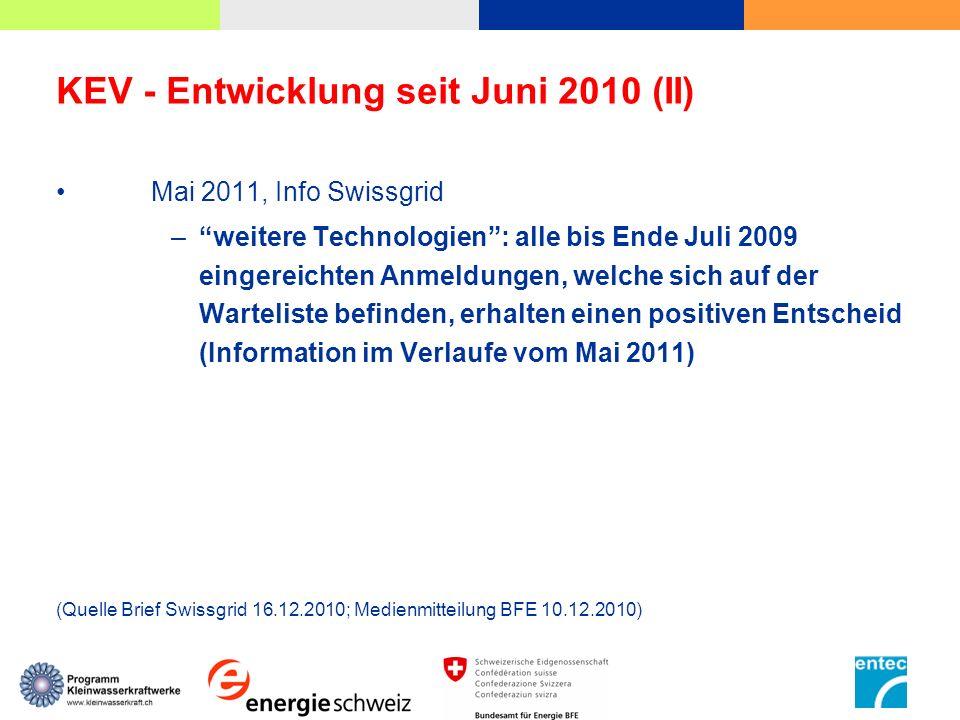 KEV - Entwicklung seit Juni 2010 (II)