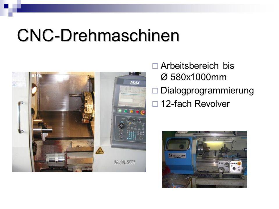 CNC-Drehmaschinen Arbeitsbereich bis Ø 580x1000mm Dialogprogrammierung