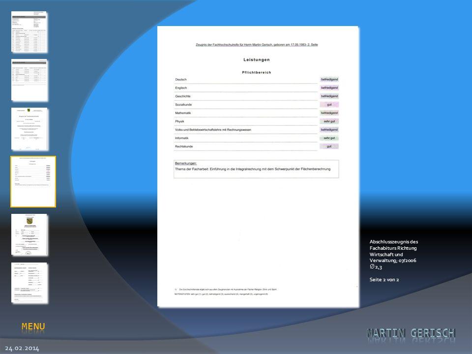 Abschlusszeugnis des Fachabiturs Richtung Wirtschaft und Verwaltung; 07/2006