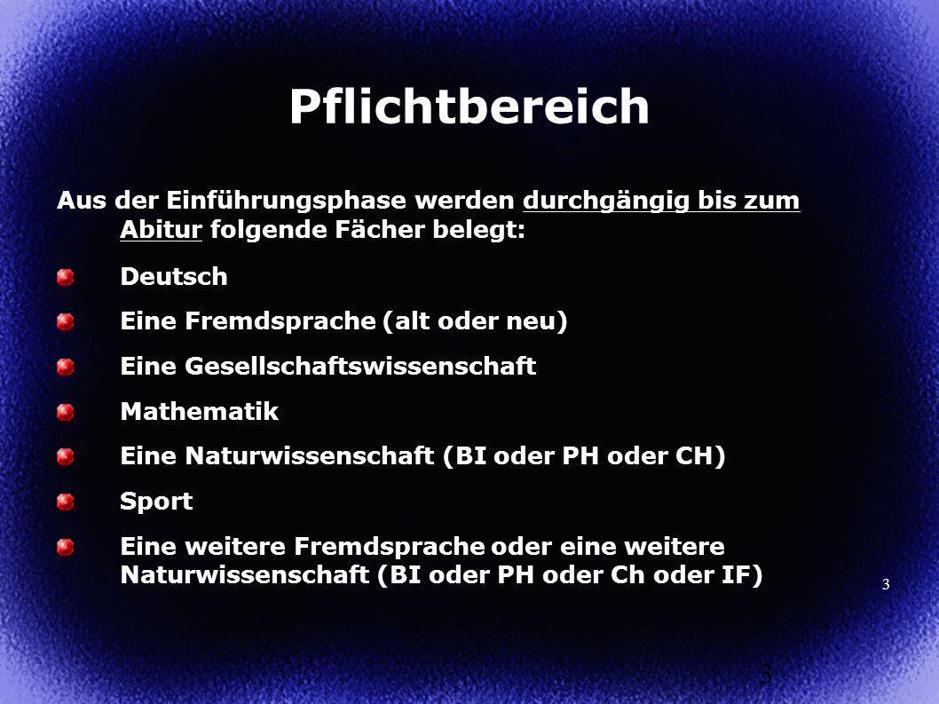 Pflichtbereich Aus der Einführungsphase werden durchgängig bis zum Abitur folgende Fächer belegt: Deutsch.