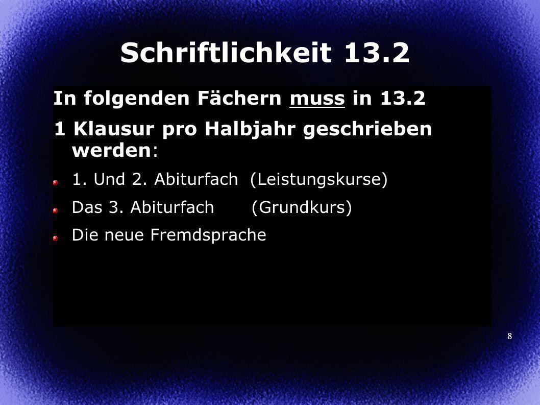 Schriftlichkeit 13.2 In folgenden Fächern muss in 13.2