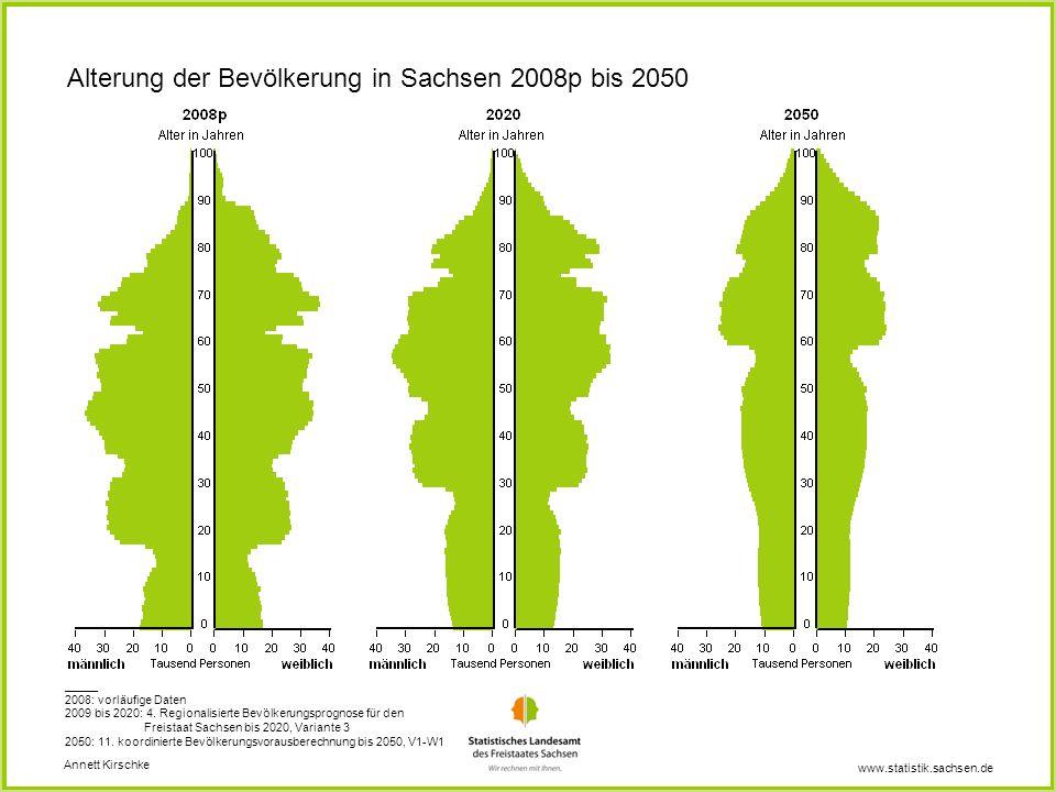 Alterung der Bevölkerung in Sachsen 2008p bis 2050