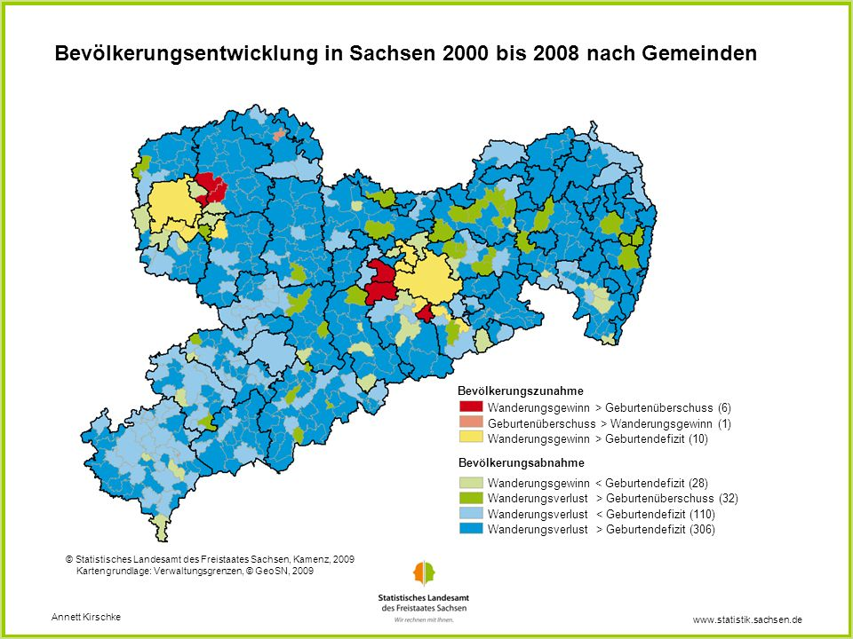 Bevölkerungsentwicklung in Sachsen 2000 bis 2008 nach Gemeinden