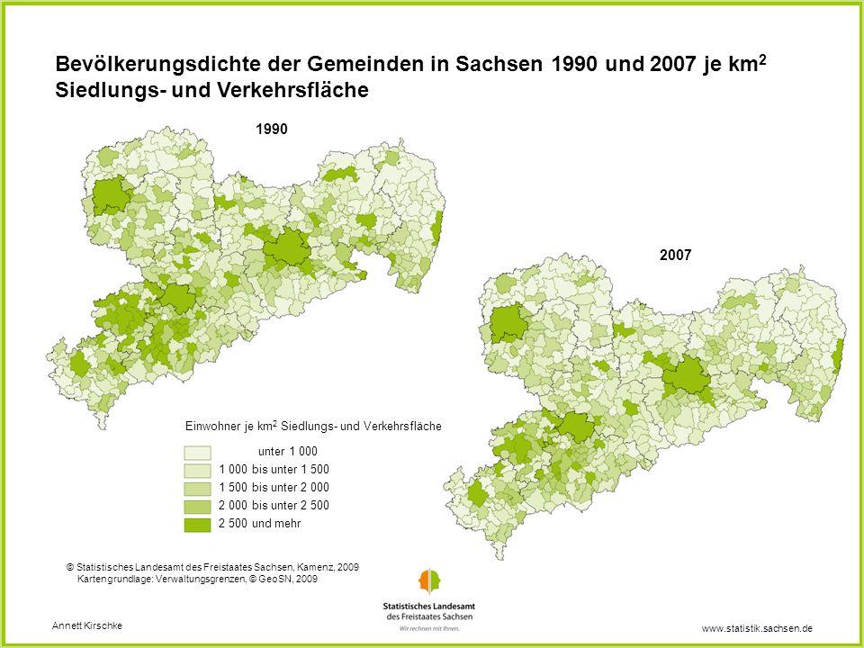Bevölkerungsdichte der Gemeinden in Sachsen 1990 und 2007 je km2 Siedlungs- und Verkehrsfläche