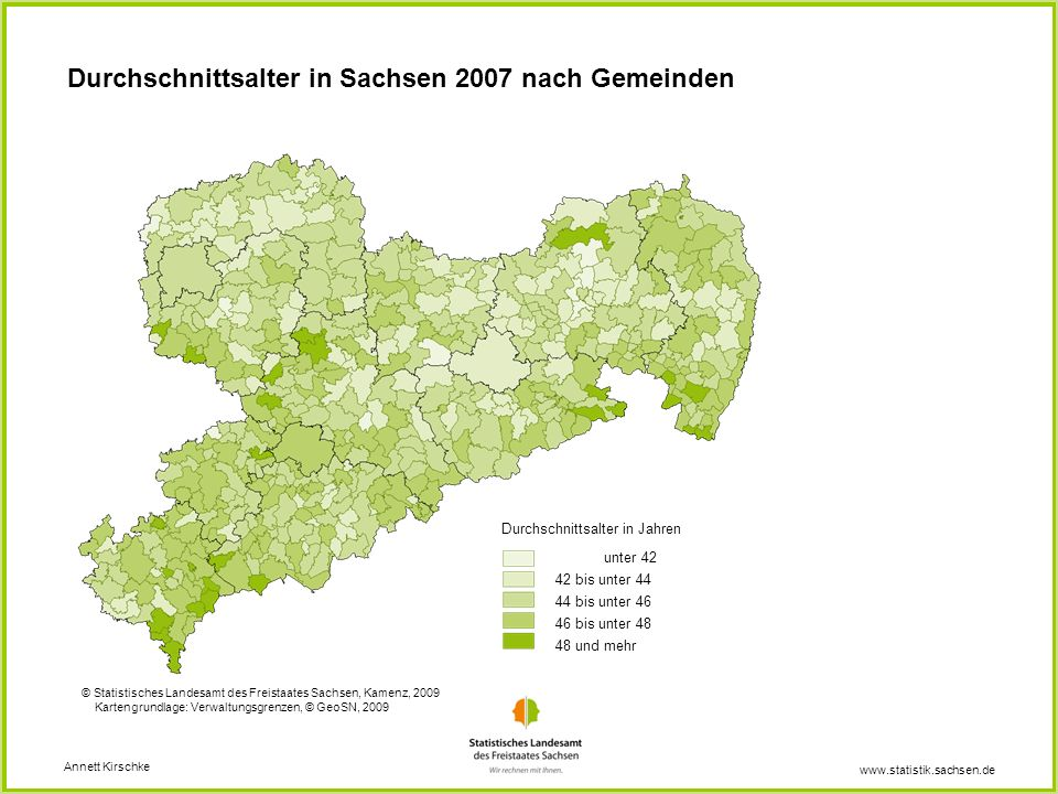 Durchschnittsalter in Sachsen 2007 nach Gemeinden