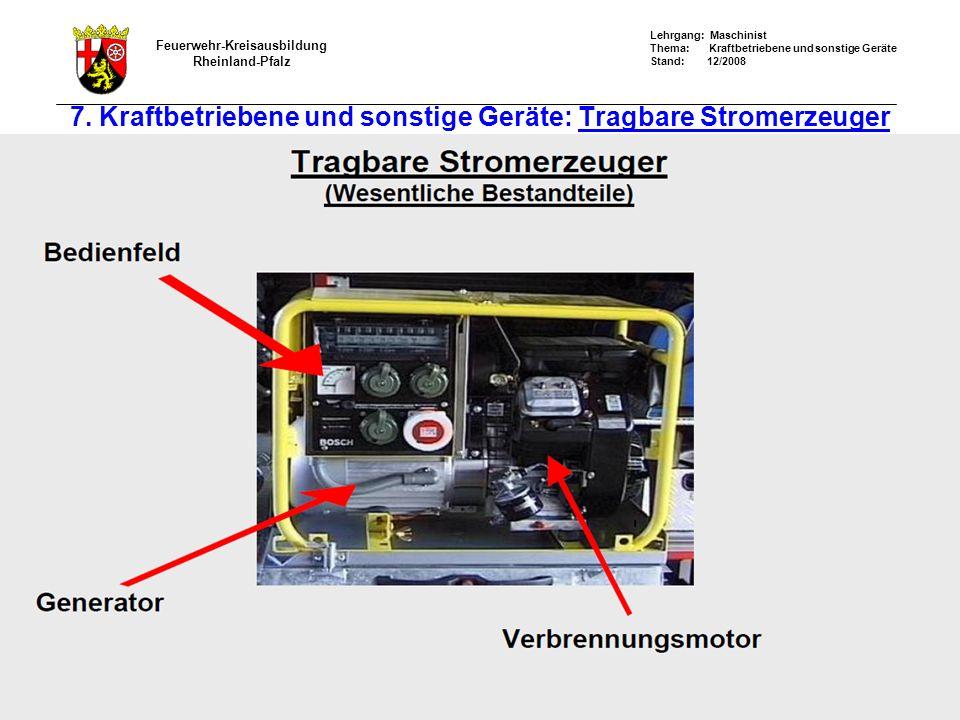 7. Kraftbetriebene und sonstige Geräte: Tragbare Stromerzeuger