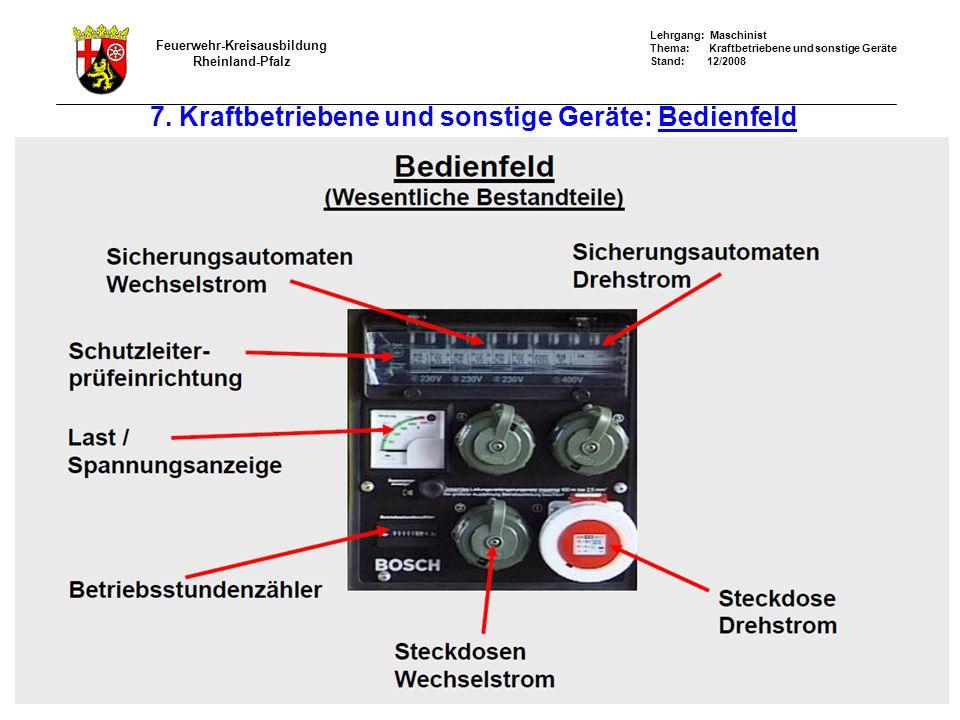 7. Kraftbetriebene und sonstige Geräte: Bedienfeld