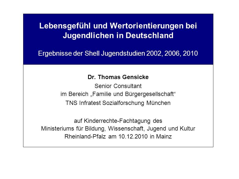Lebensgefühl und Wertorientierungen bei Jugendlichen in Deutschland Ergebnisse der Shell Jugendstudien 2002, 2006, 2010