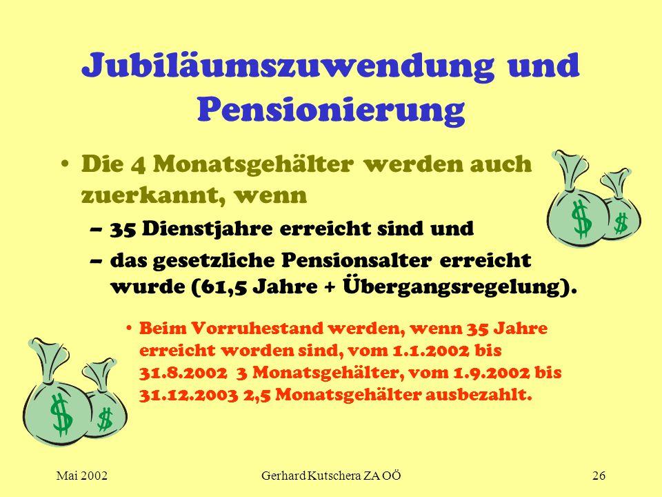 Jubiläumszuwendung und Pensionierung