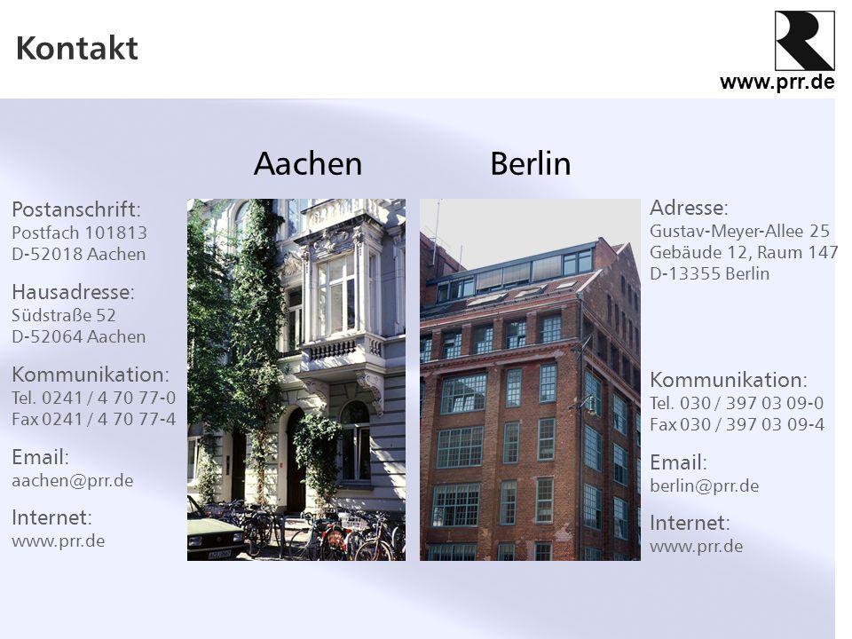 Kontakt Aachen Berlin Postanschrift: Adresse: Hausadresse: