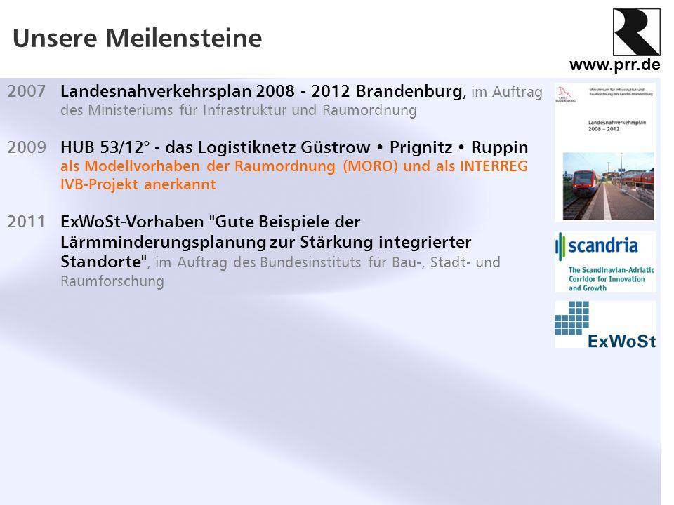 Unsere Meilensteine 2007 Landesnahverkehrsplan 2008 - 2012 Brandenburg, im Auftrag des Ministeriums für Infrastruktur und Raumordnung.