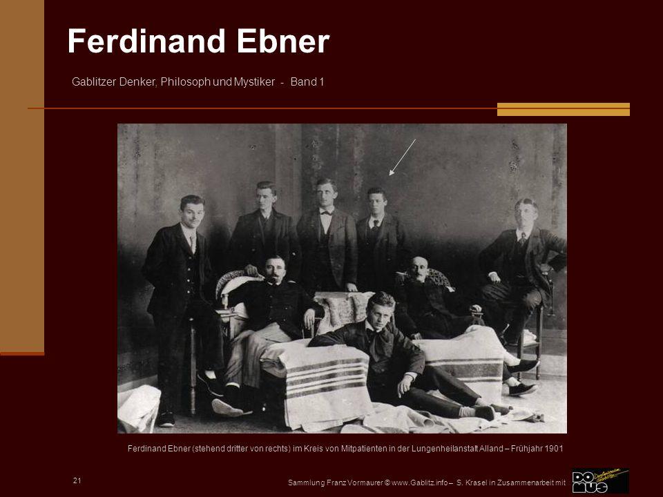 Ferdinand Ebner (stehend dritter von rechts) im Kreis von Mitpatienten in der Lungenheilanstalt Alland – Frühjahr 1901