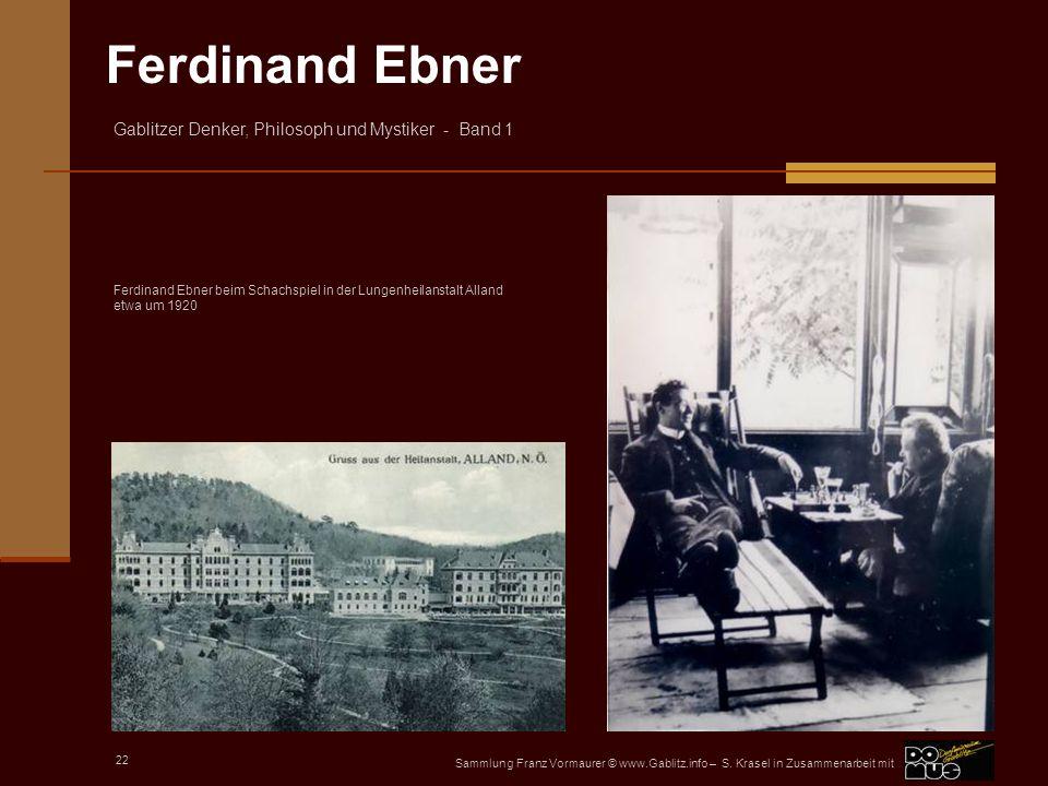 Ferdinand Ebner beim Schachspiel in der Lungenheilanstalt Alland etwa um 1920