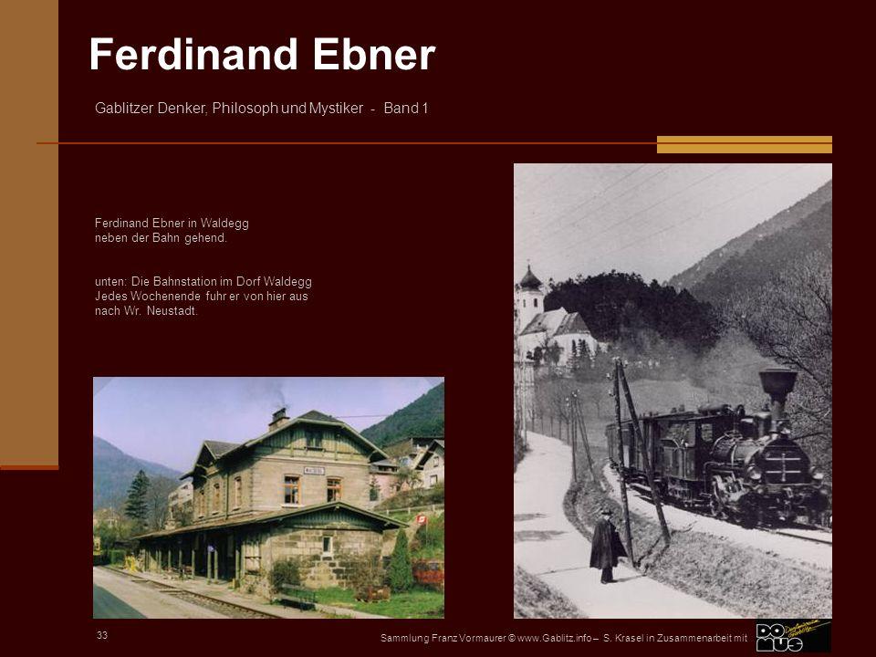 Ferdinand Ebner in Waldegg neben der Bahn gehend.