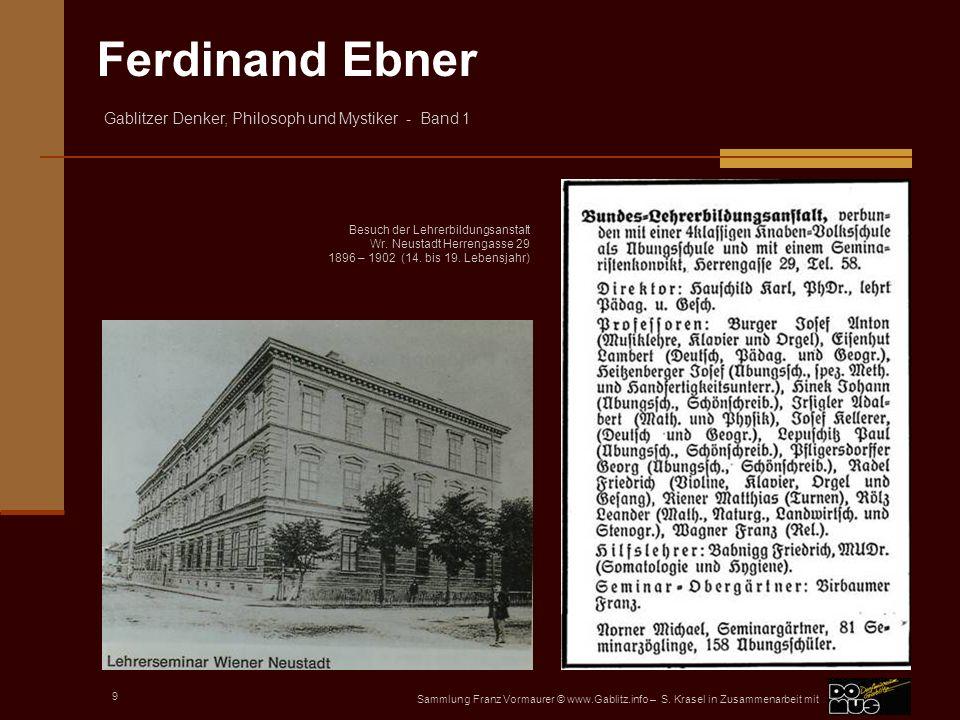 Besuch der Lehrerbildungsanstalt Wr. Neustadt Herrengasse 29