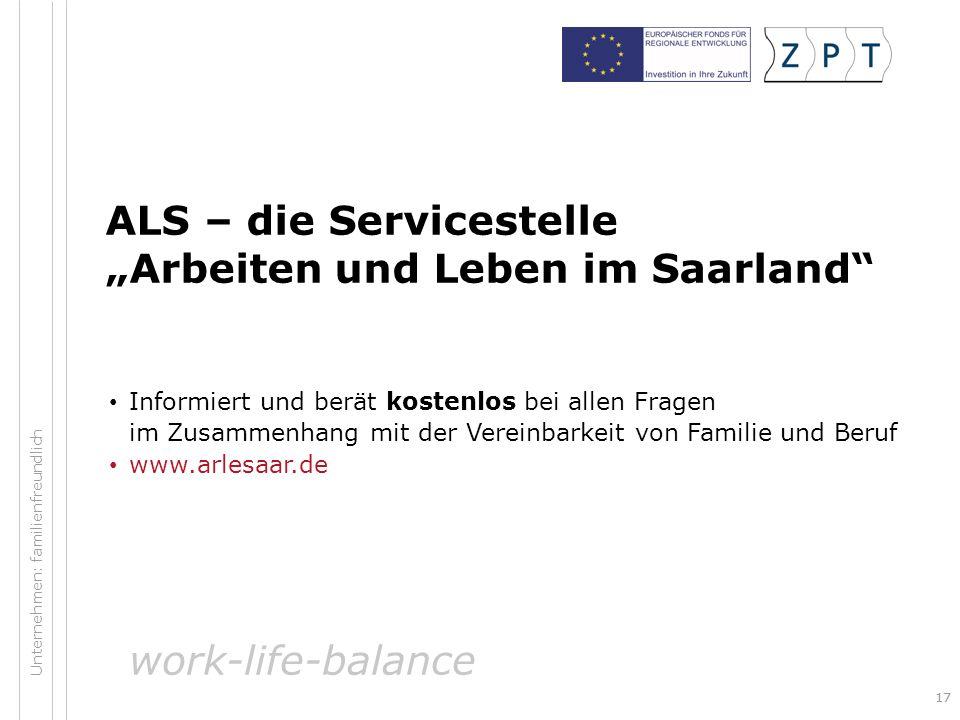 """ALS – die Servicestelle """"Arbeiten und Leben im Saarland"""