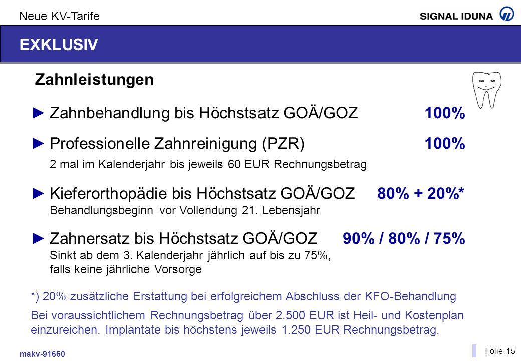► Zahnbehandlung bis Höchstsatz GOÄ/GOZ 100%