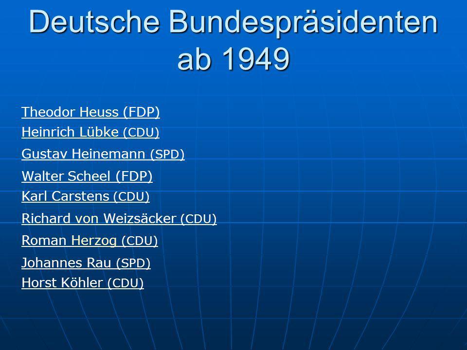 Deutsche Bundespräsidenten ab 1949