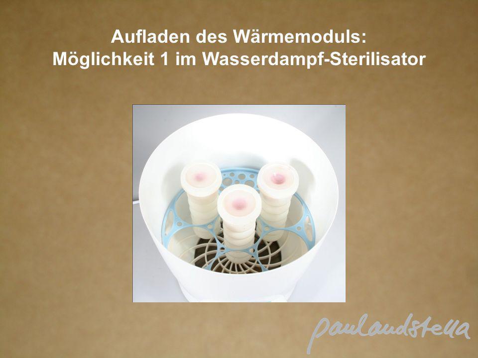 Aufladen des Wärmemoduls: Möglichkeit 1 im Wasserdampf-Sterilisator