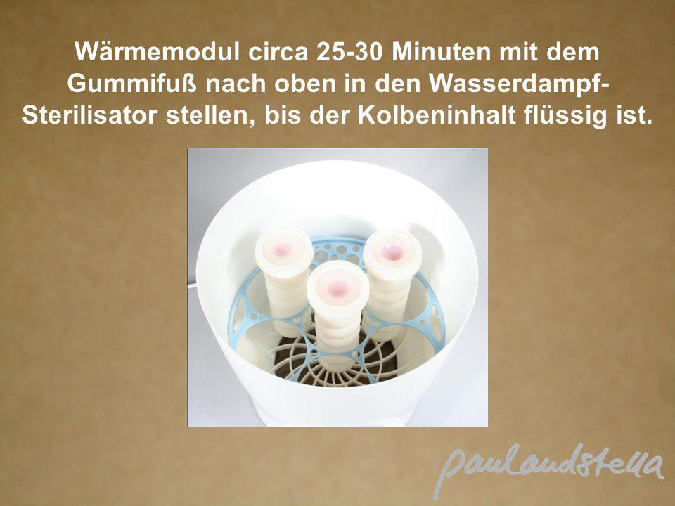 Wärmemodul circa 25-30 Minuten mit dem Gummifuß nach oben in den Wasserdampf-Sterilisator stellen, bis der Kolbeninhalt flüssig ist.