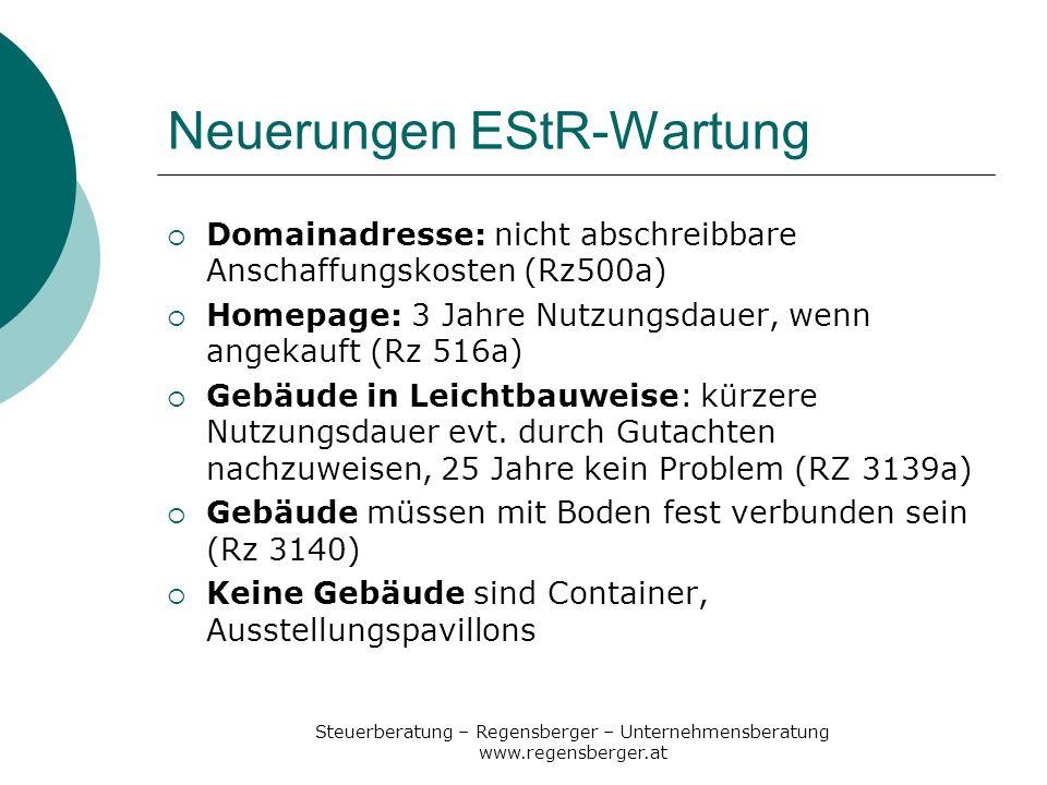Neuerungen EStR-Wartung