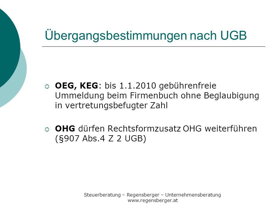 Übergangsbestimmungen nach UGB
