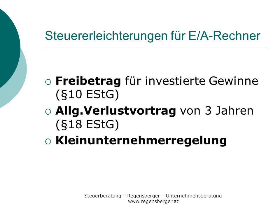 Steuererleichterungen für E/A-Rechner