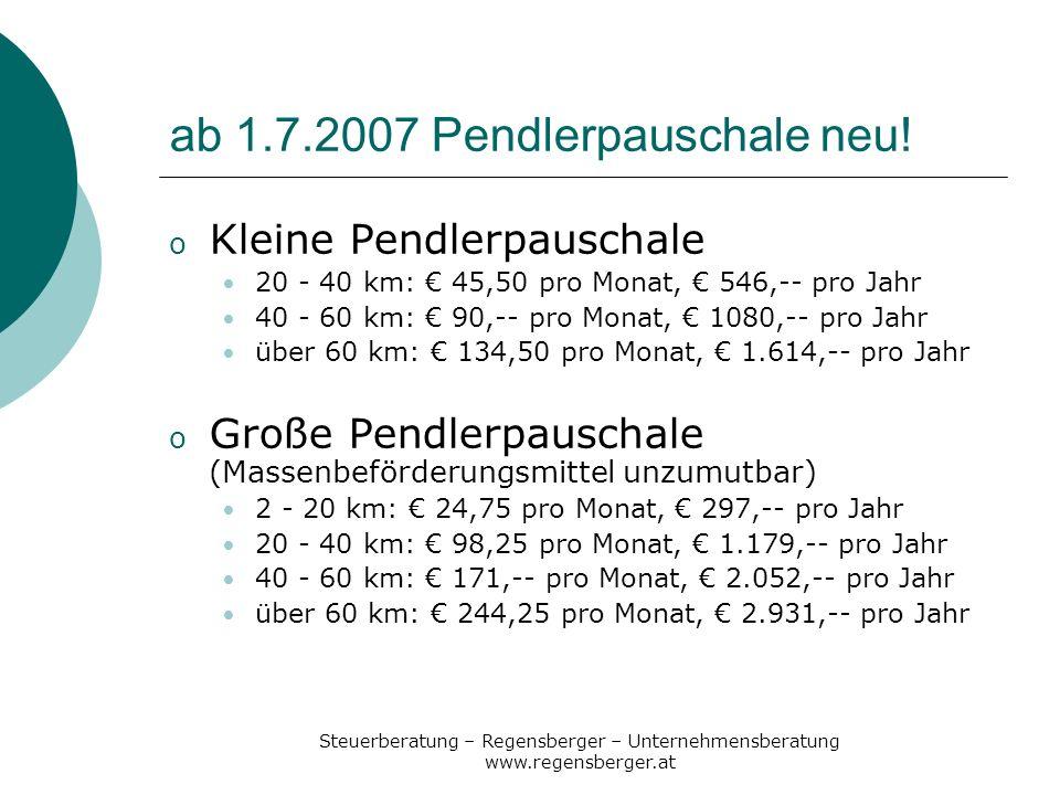 ab 1.7.2007 Pendlerpauschale neu!