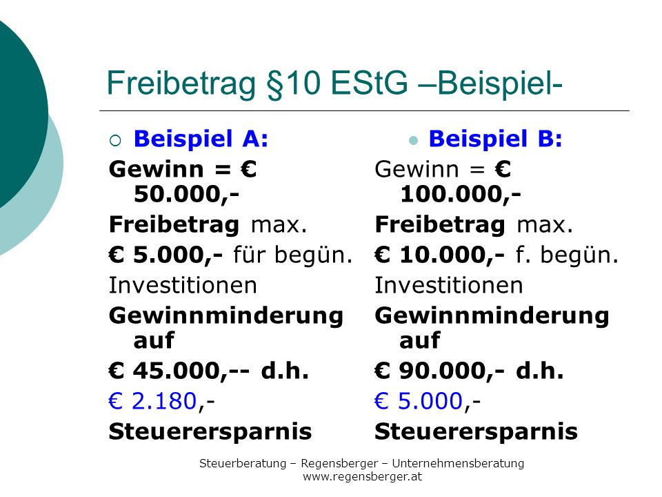 Freibetrag §10 EStG –Beispiel-