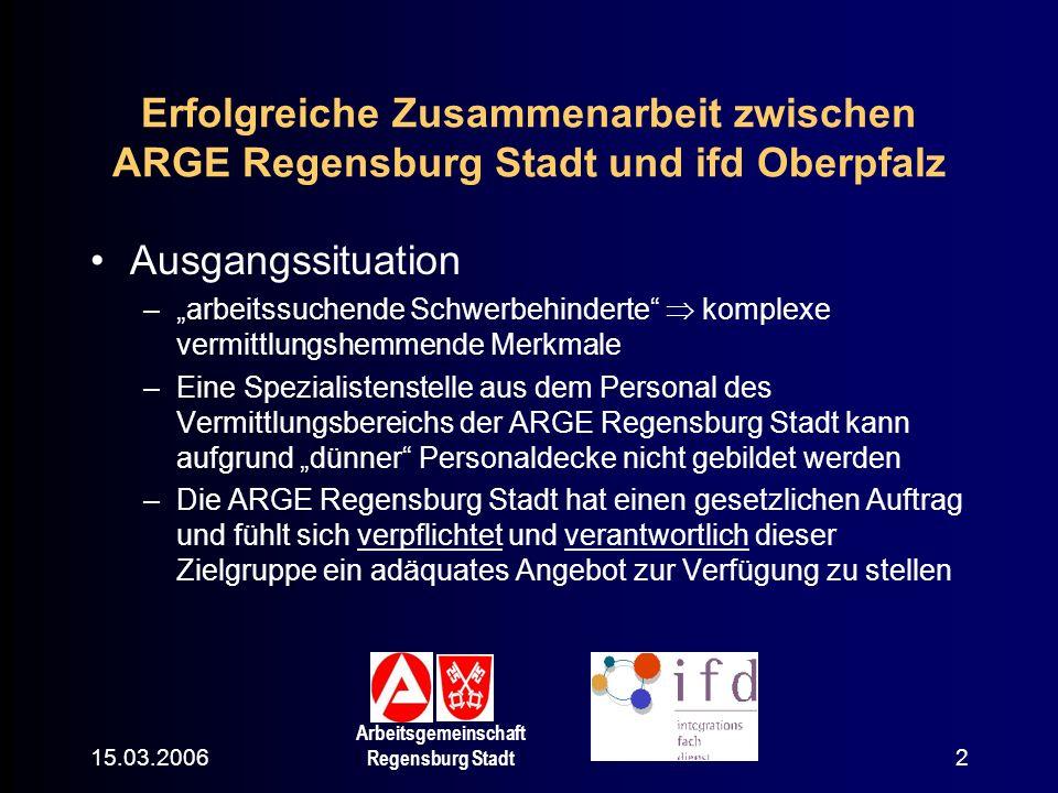 Erfolgreiche Zusammenarbeit zwischen ARGE Regensburg Stadt und ifd Oberpfalz