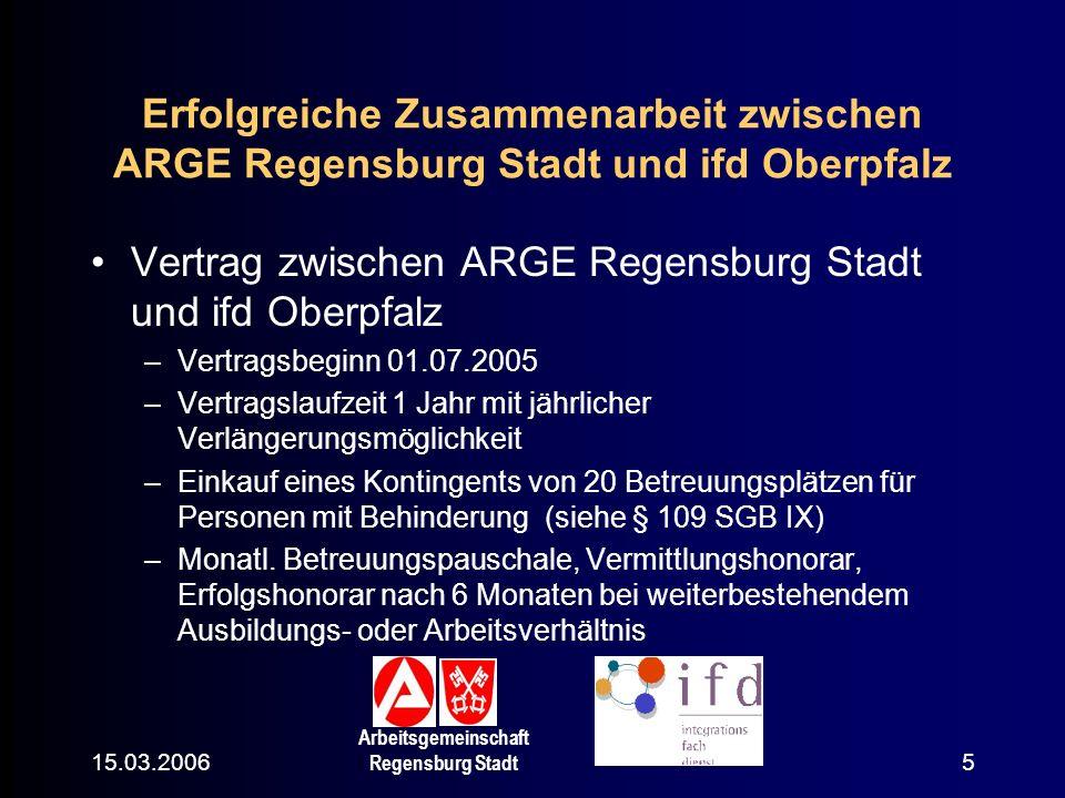 Vertrag zwischen ARGE Regensburg Stadt und ifd Oberpfalz