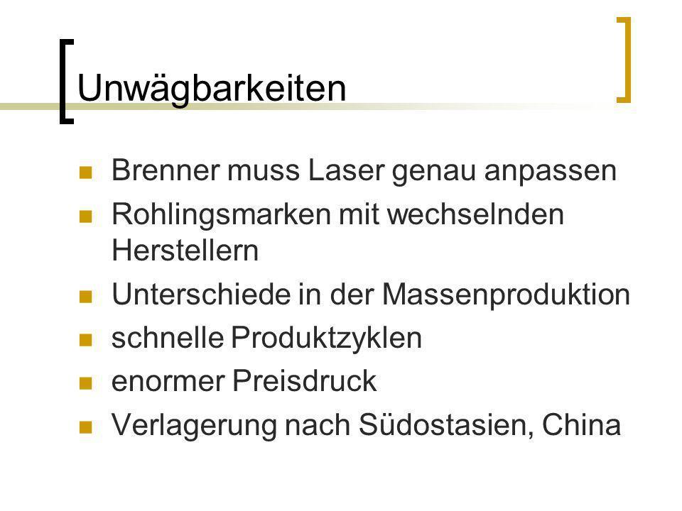 Unwägbarkeiten Brenner muss Laser genau anpassen