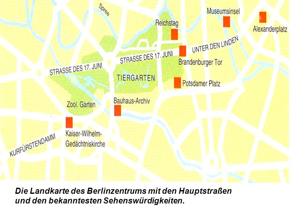 Die Landkarte des Berlinzentrums mit den Hauptstraßen