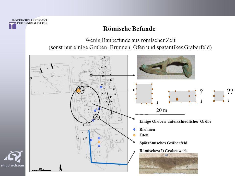 Römische Befunde Wenig Baubefunde aus römischer Zeit (sonst nur einige Gruben, Brunnen, Öfen und spätantikes Gräberfeld)