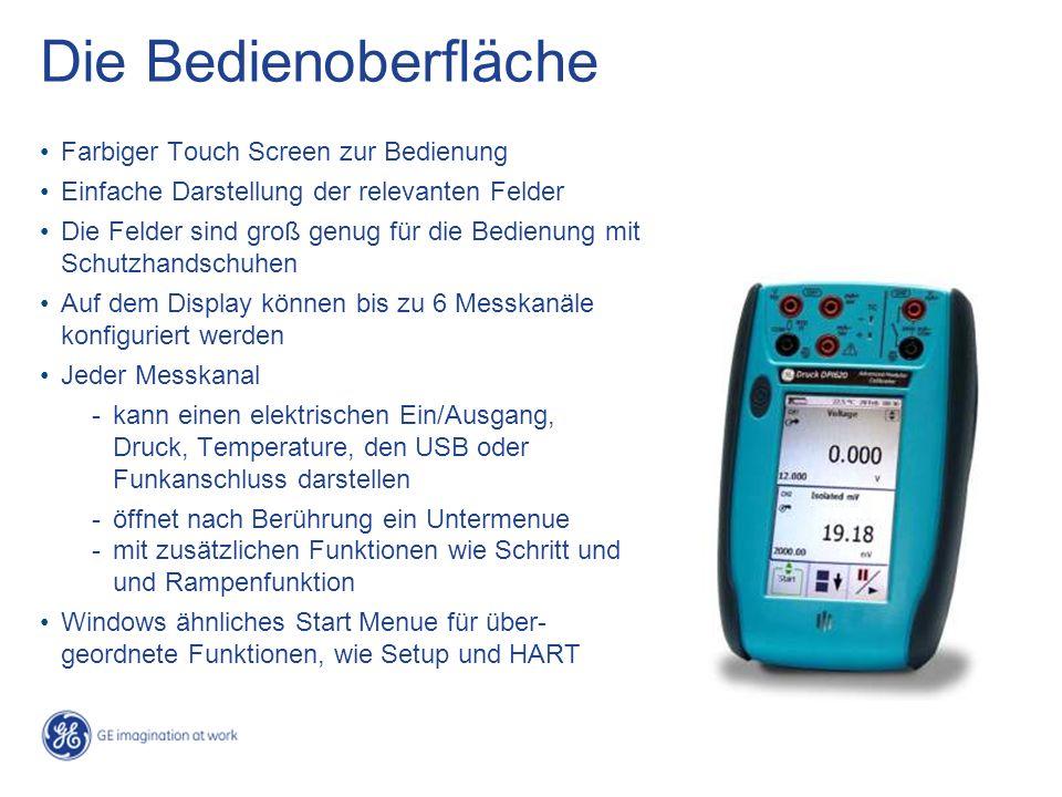 Die Bedienoberfläche Farbiger Touch Screen zur Bedienung