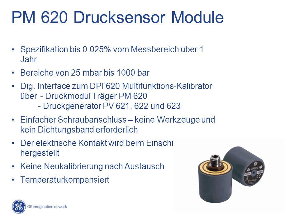 PM 620 Drucksensor Module Spezifikation bis 0.025% vom Messbereich über 1 Jahr. Bereiche von 25 mbar bis 1000 bar.