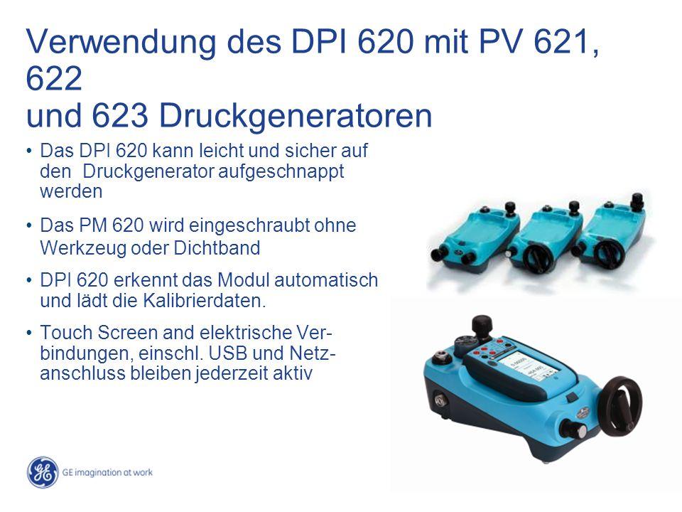 Verwendung des DPI 620 mit PV 621, 622 und 623 Druckgeneratoren