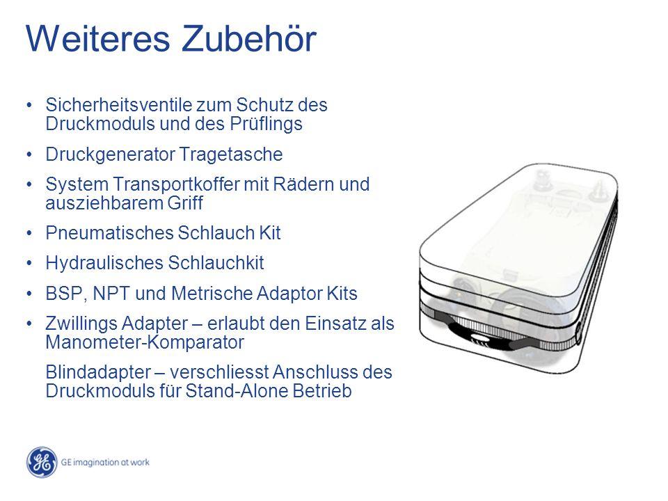 Weiteres Zubehör Sicherheitsventile zum Schutz des Druckmoduls und des Prüflings. Druckgenerator Tragetasche.