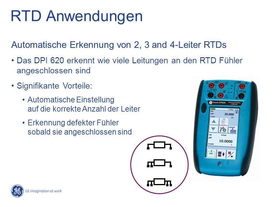 RTD Anwendungen Automatische Erkennung von 2, 3 and 4-Leiter RTDs