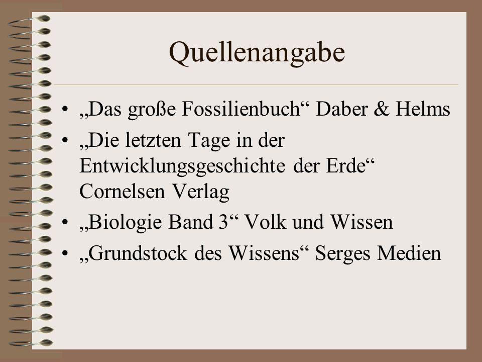 """Quellenangabe """"Das große Fossilienbuch Daber & Helms"""