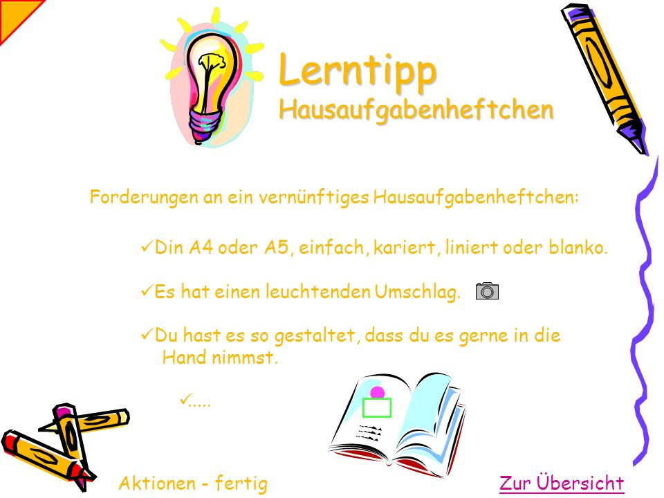 Lerntipp Hausaufgabenheftchen