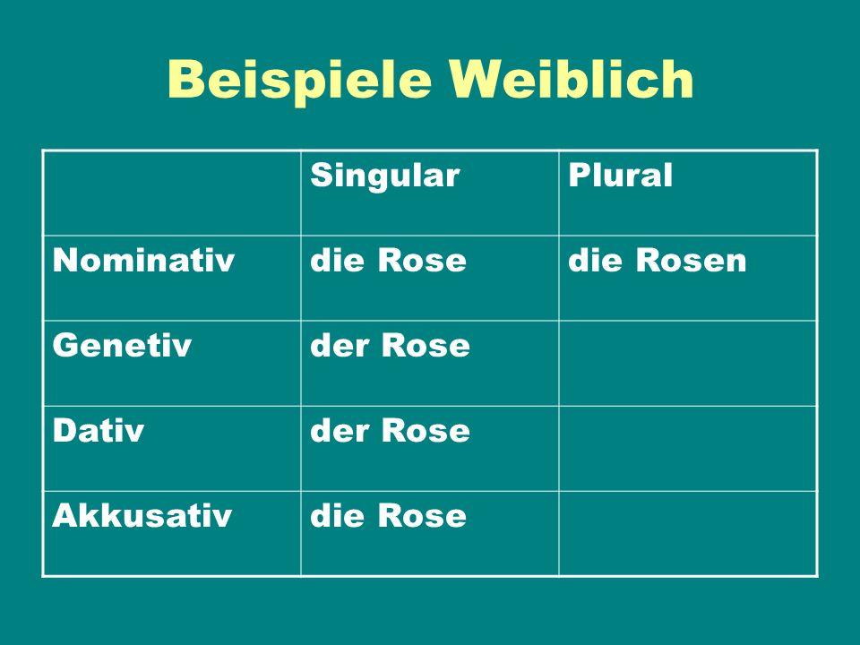 Beispiele Weiblich Singular Plural Nominativ die Rose die Rosen