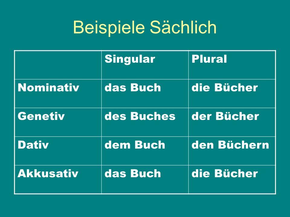 Beispiele Sächlich Singular Plural Nominativ das Buch die Bücher