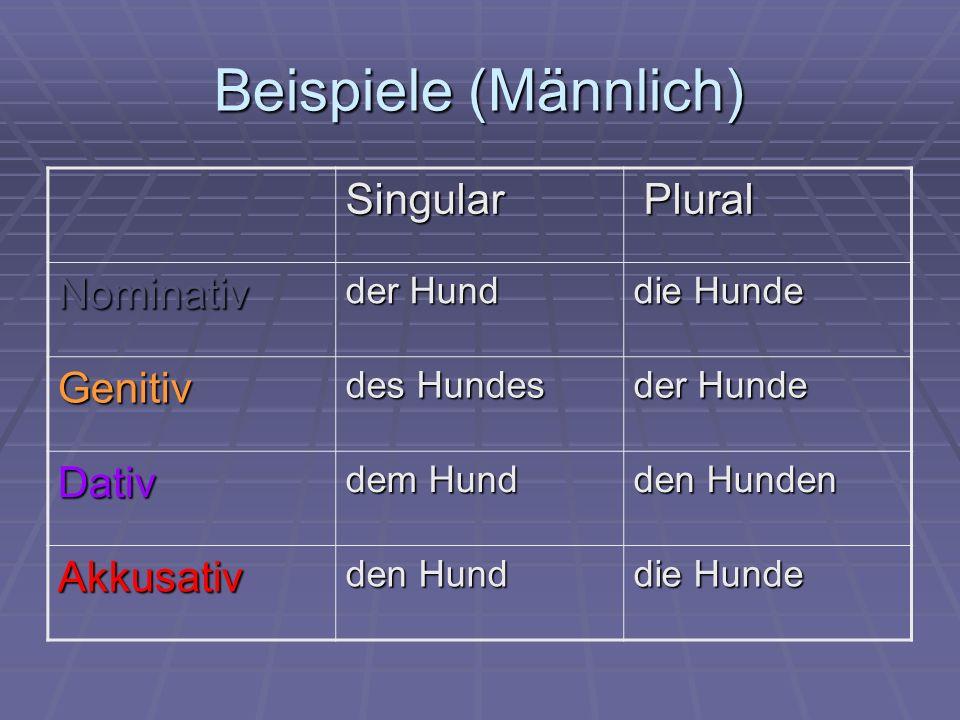 Beispiele (Männlich) Singular Nominativ Genitiv Dativ Akkusativ Plural