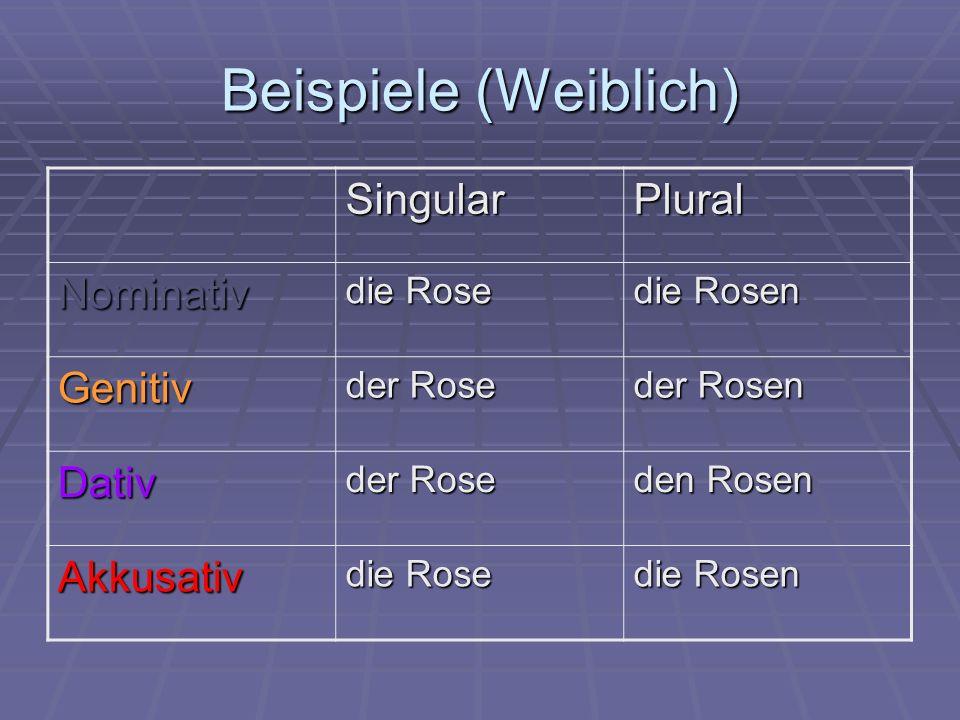Beispiele (Weiblich) Singular Plural Nominativ Genitiv Dativ Akkusativ
