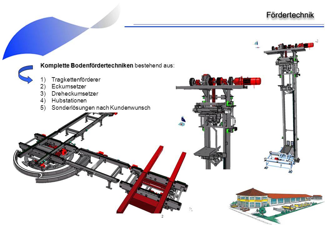 Komplette Bodenfördertechniken bestehend aus: Tragkettenförderer