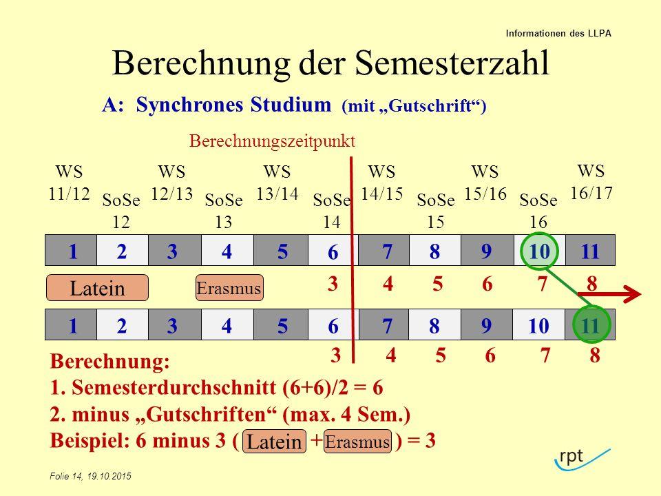 Berechnung der Semesterzahl