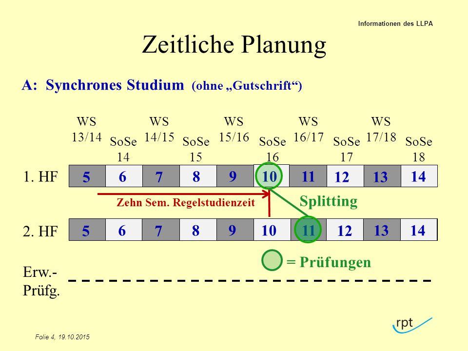 """Zeitliche Planung A: Synchrones Studium (ohne """"Gutschrift ) 12 7 9 11"""