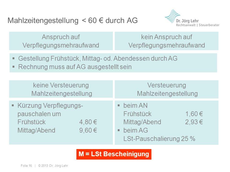Mahlzeitengestellung < 60 € durch AG